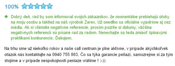 Reakce prodejce produktů Zerex